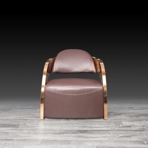 Modern Zetta Rose Gold Brown Accent Chair