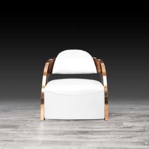 Modern Zetta Rose Gold White Accent Chair