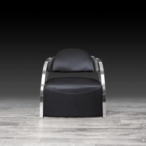 Modern Zetta Silver Black Accent Chair