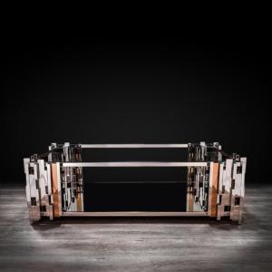 illusion rectangular silver modern coffee table