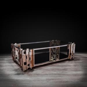 illusion rectangular silver stylish coffee table