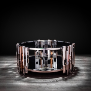 illusion round silver modern coffee table