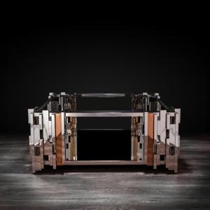illusion square silver modern coffee table