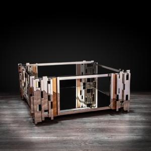 illusion square silver stylish coffee table