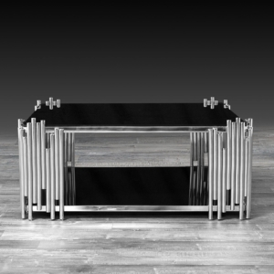 Modern Mauris Square Silver Glass Coffee Table