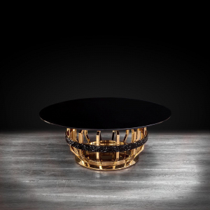 milano round gold glass modern coffee table