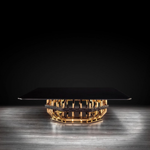 milano square gold glass modern coffee table