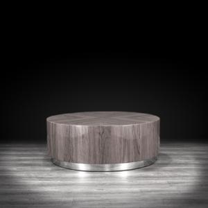 monaco round taupe modern coffee table