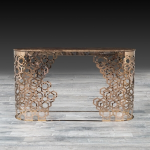 Modern Alveare Rose Gold Console Table