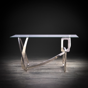 flow silver modern console table