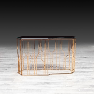 Modern Lorensia Rose Gold Glass Console