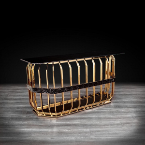 milano gold glass stylish console table
