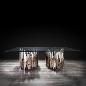 Illusion Rectangular Silver Dining Table
