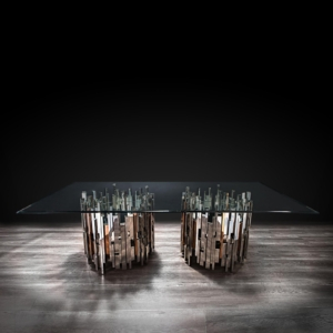 illusion rect silver stylish dining table