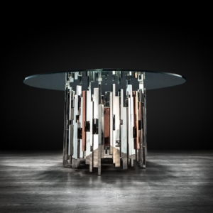 illusion round silver stylish dining table