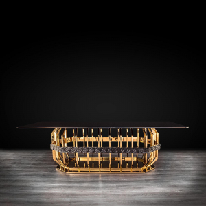 Milano Gold Rectangular Glass Dining Table