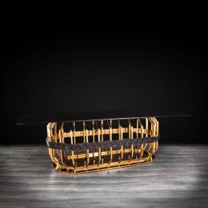 milano rectangular gold glass stylish dining table