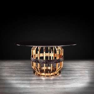 Milano Gold Round Glass Dining Table