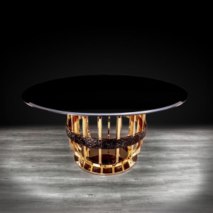 milano round gold glass stylish dining table