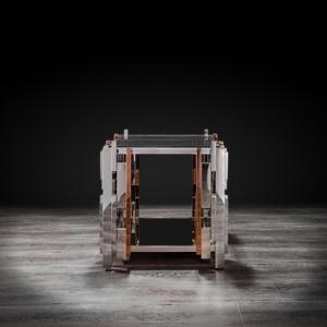 Illusion Square Silver End Table