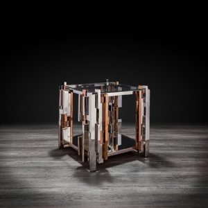 illusion square silver stylish end table