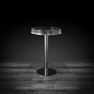 malena sm round silver modern end table