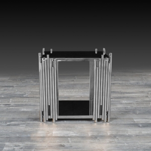 Modern Mauris Silver Glass End Table