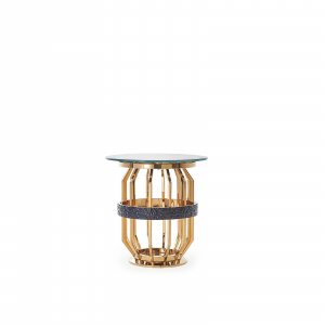 milano round gold glass end table