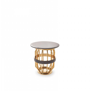 milano round gold glass stylish 7 end table