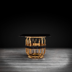 Milano Square Gold End Table