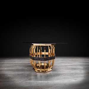 milano square gold glass stylish end table