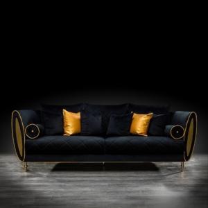 cerchio gold black modern sofa set
