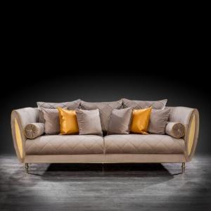 cerchio gold taupe modern sofa set