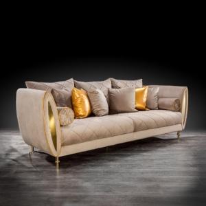 cerchio gold taupe stylish sofa set