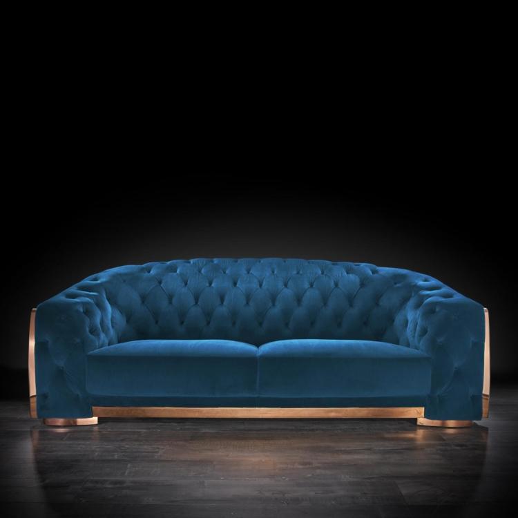 Massimo Rose Gold Sofa Set   Blue